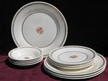 Golden Princess vintage American Limoges china dishes, floral w/laurel
