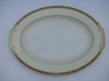 Goldkin Noritake china, huge turkey platter, gold band white porcelain