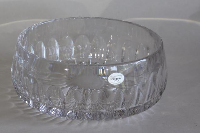 Gorham Althea cut crystal, large bowl, 1980s vintage West Germany lead crystal