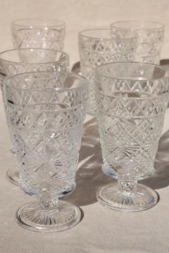 Gothic pattern glass peanut butter glasses, 50s vintage Hazel Atlas footed tumblers