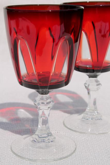 Cristal Darques France.Gothic Pattern Ruby Red Cut To Clear Wine Glasses Water Goblets