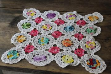 Grandma's flower garden vintage crochet lace doily w/ colored flowers
