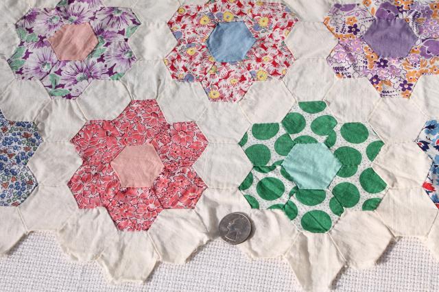 Grandma S Flower Garden Patchwork Quilt Top Table Runner