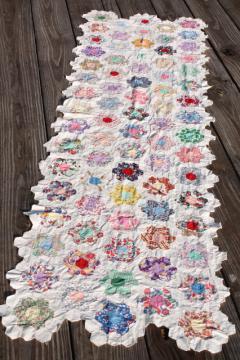 Grandma's flower garden patchwork quilt top table runner, vintage cotton print fabrics