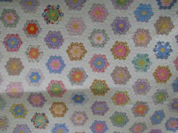 Grandma's flower garden pattern antique vintage patchwork quilt, old cotton prints