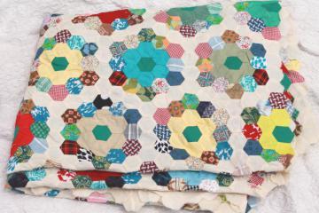 Grandma's flower garden quilt top, vintage cotton prints pieced patchwork, hand-stitched
