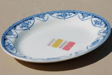 Great Universal British pottery, blue & white china platter w/ vintage export label