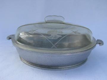 Guardian Service vintage cast aluminum 12'' chicken fryer pan w/ glass lid