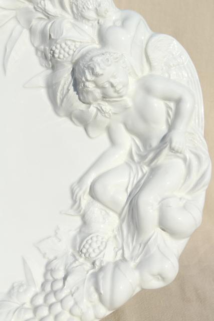 Gumps Italian ceramic platter or serving tray, classical Bacchanalia cherub w/ fruit, grapes