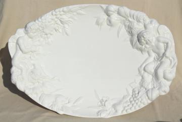 Gumps Italian ceramic platter or serving tray, classical Bacchanalia cherub w/ fruit, grapes