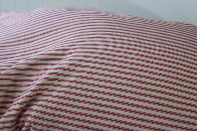 HEAVY old chicken feather pillow, vintage barn red striped cotton ticking fabric cover
