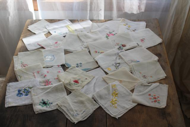HUGE lot vintage hankies, 200+ Swiss embroidery handkerchiefs for upcycled party decor projects