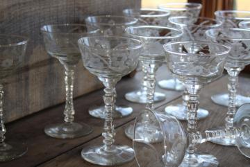 Halifax Rock Sharpe Libbey wheel cut crystal clear martini cocktail glasses, 12 stems