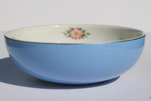 Hall Rose Parade china, vintage pottery mixing bowl, big blue bowl w/ wild rose