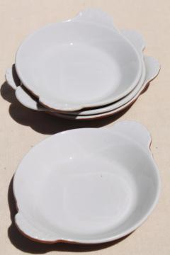 Hall china restaurant ware brown & white ironstone bowls, individual gratins or shirred egg dishes