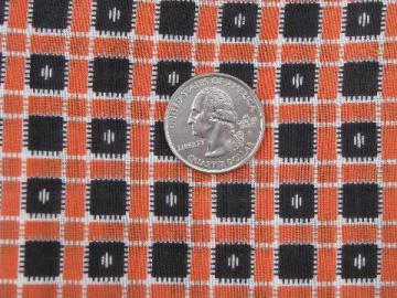 Halloween orange and black, 1930's - 40's vintage cotton checked fabric