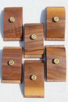 Hang Ups set of six walnut wood wooden clamp quilt hangers