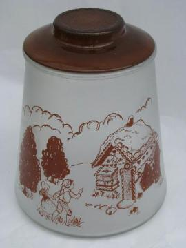 Hansel and Gretel vintage kitchen glass cookie jar canister