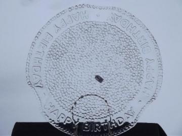 Happy Birthday glass cake plate, vintage Pilgrim glass cake plate w/ label