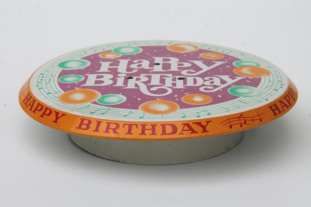 Happy Birthday Revolving Musical Cake Stand Vintage Litho Print Metal Pedestal Music Box