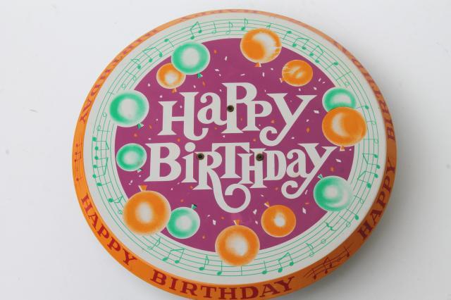 Happy Birthday Revolving Musical Cake Stand Vintage Litho Print Metal Pedestal Music Box