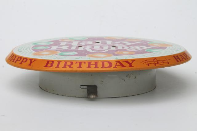 Happy Birthday revolving musical cake stand vintage litho print