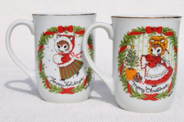 Happy Holidays & Merry Christmas mouse lady tea or coffee mugs, 70s vintage Japan