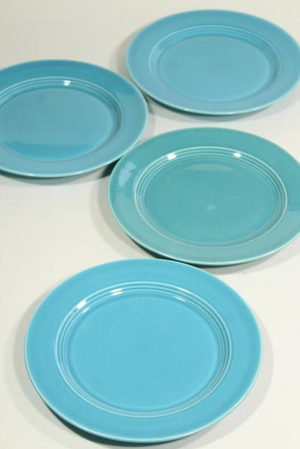 Harlequin turquoise set of four salad plates, vintage Homer Laughlin china