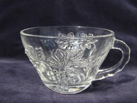 Harvest grapes pattern vintage glass punch bowl set w/ 12 cups