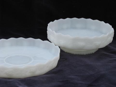 Harvest grapes, vintage grape pattern white milk glass Fire King flower bowl & tray