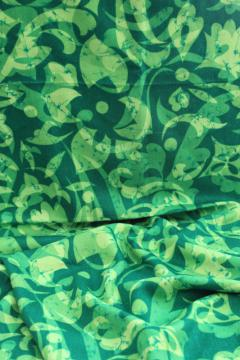 Hawaiian Textiles vintage fabric neon green print, rayon or poly blend crepe