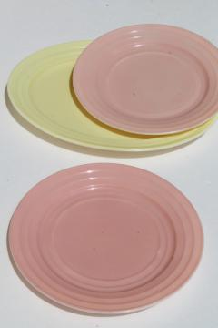 Hazel Atlas moderntone depression glass dishes, platonite pastels pink & yellow plates & platter