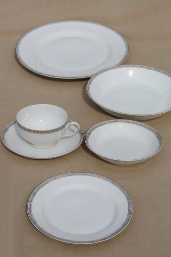 Heinrich Hu0026Co porcelain dinnerware u0026 serving pieces deco vintage Greek key black u0026 white chin & Heinrich Hu0026Co porcelain dinnerware u0026 serving pieces deco vintage ...