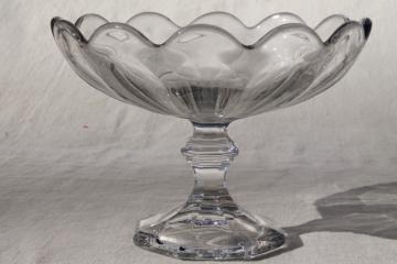Heisey Colonial compote bowl, vintage pressed pattern glass, crystal clear fruit pedestal