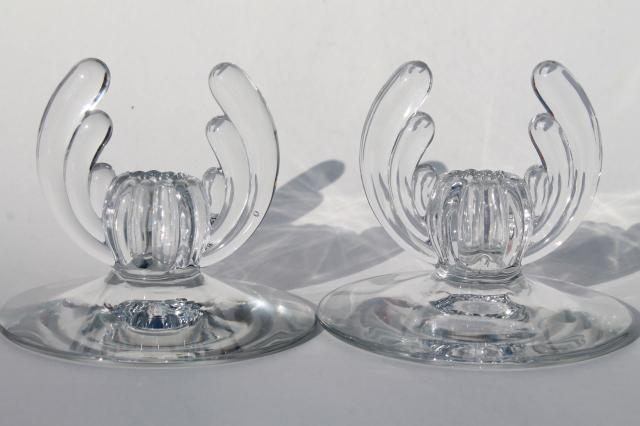 Heisey Crystolite clear glass candlesticks, pair of vintage candle holders