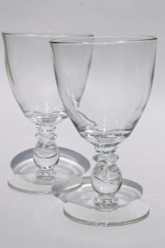 Heisey Lariat crystal clear vintage stemware, large water goblets pressed glass wine glasses