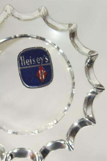 Heisey Lariat pattern glass serving plate, nougat candy dish w/ original foil label