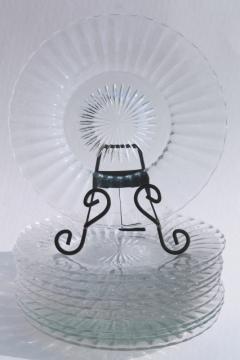 Heisey Ridgeleigh crystal clear depression glass salad plates, art deco vintage