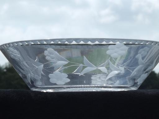 Heisey serving bowls, vintage elegant glass w/ H in diamond marks