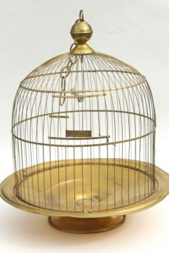 Hendryx brass birdcage, round tray stand dome cover bird cage, vintage 1920s