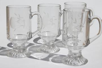 Heritage Princess House etched glass tall cups, Irish coffee footed mugs set