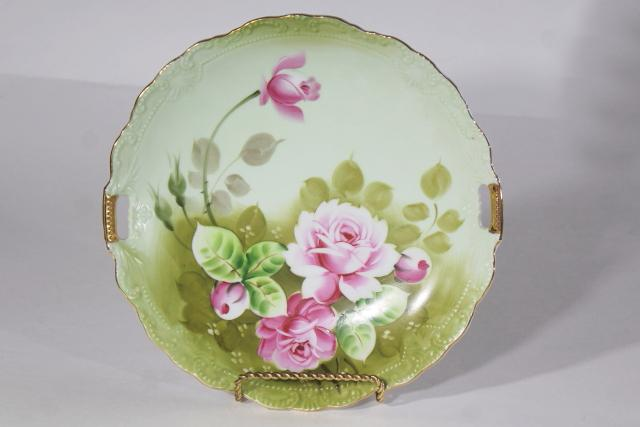 Heritage Rose Lefton china serving plate or handled tray, vintage hand painted Japan