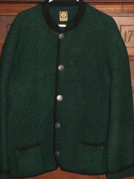 Hofer - Austria, men's vintage boiled wool Alpine jacket w/ coin buttons, loden green
