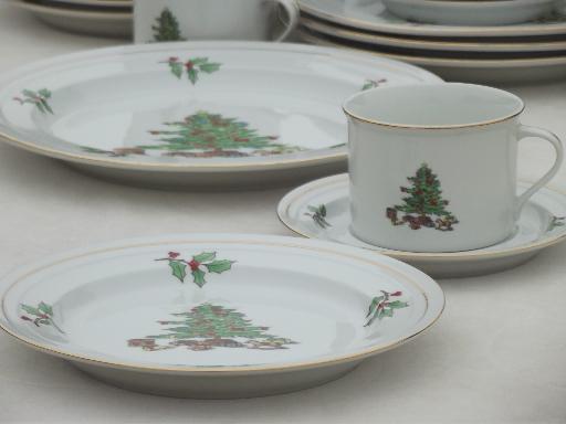 & Holiday Hostess Christmas tree u0026 holly dishes Tienshan china set