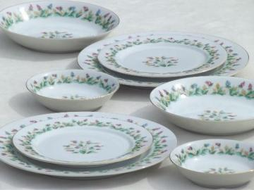 Hollandia tulips Occupied Japan vintage china dishes, plates and bowls