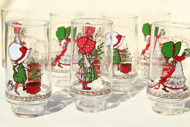 holly hobbie christmas drinking glasses 8 vintage coca cola glasses 70s 80s coke - Christmas Drinking Glasses