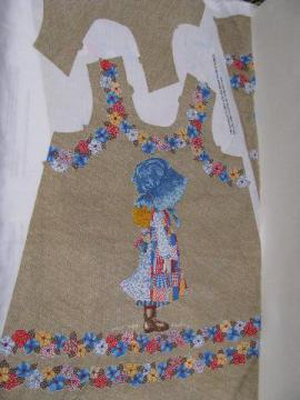 Holly Hobbie printed fabric panel to sew girls' jumper apron dress