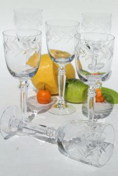 Holly etch Fostoria, set of 6 vintage claret wine glasses, small goblets