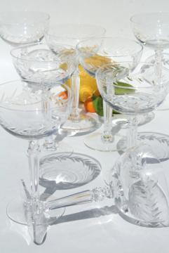 Holly etch Fostoria, set of 8 vintage coupe champagne glasses, saucer champagnes