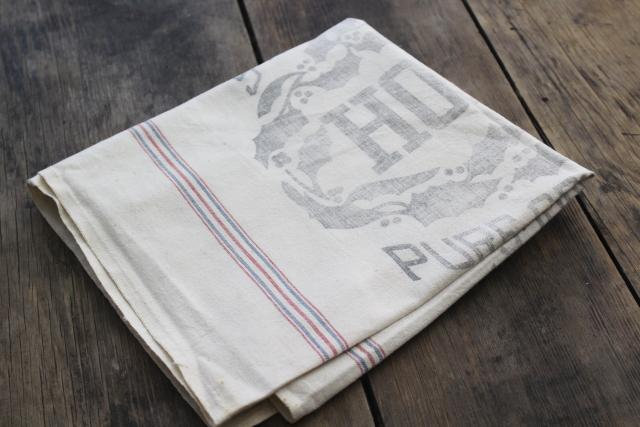 Holly sugar vintage advertising graphics cotton feed sack fabric for farmhouse decor projects